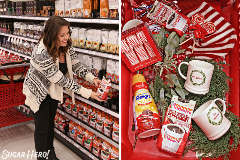 Peppermint Affogato - two photos: shopping for coffee at Target, and overhead shot of cart contents | From SugarHero.com
