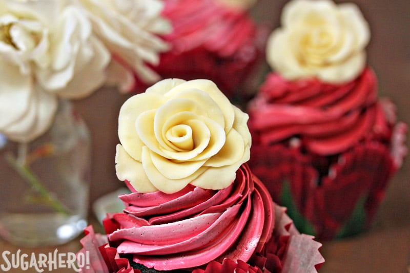 Chocolate Rose Cupcakes - The top of a cupcake to display the chocolate rose on top. | From SugarHero.com