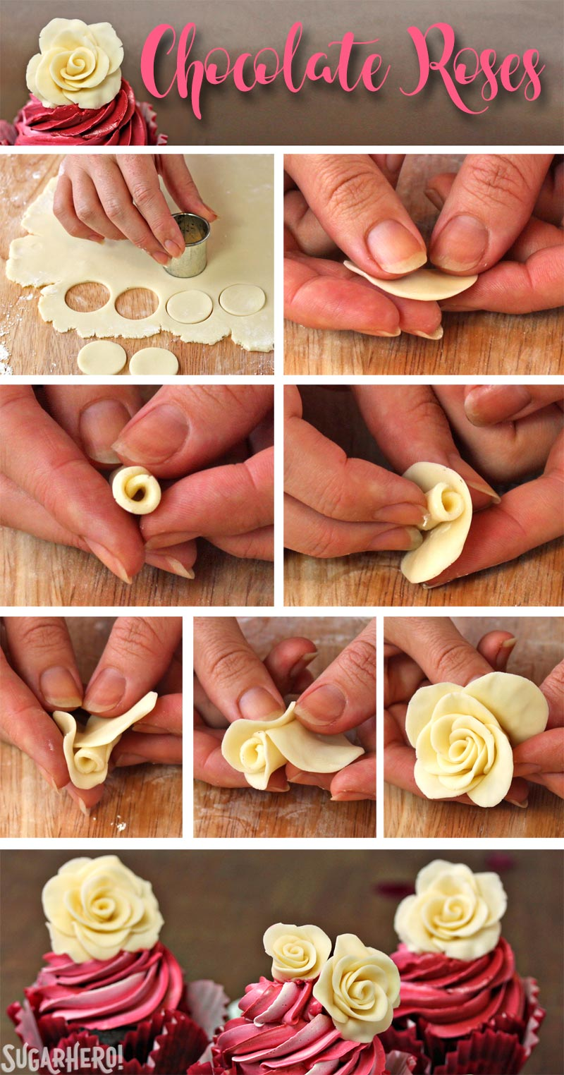 Chocolate Rose Cupcakes - A collage of pictures to show step by step how to create the chocolate roses. | From SugarHero.com