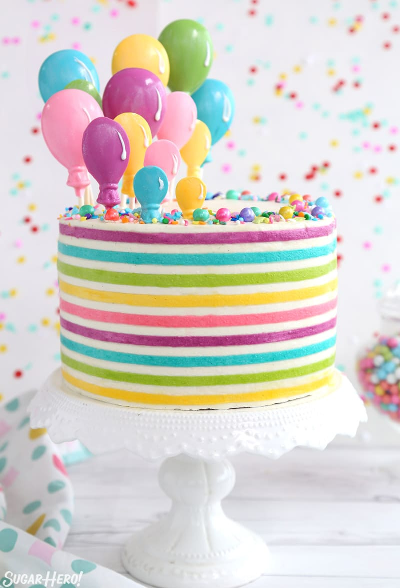 Striped Buttercream Balloon Cake - SugarHero