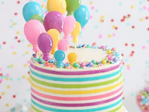 Surprising Striped Buttercream Balloon Cake Sugarhero Personalised Birthday Cards Veneteletsinfo