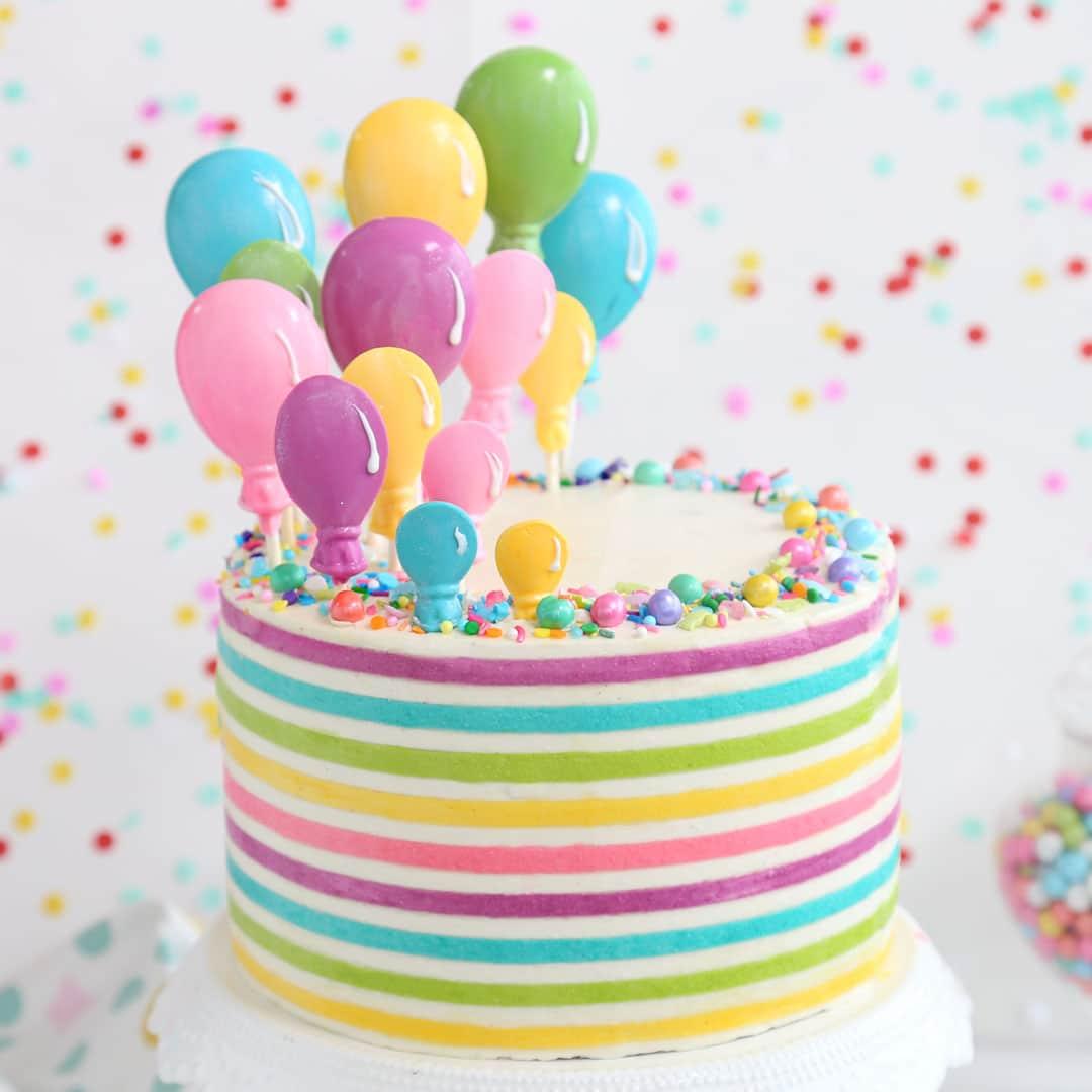 Astonishing Striped Buttercream Balloon Cake Sugarhero Personalised Birthday Cards Epsylily Jamesorg
