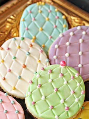 Easter Egg Sugar Cookies with colorful sugar pearl accents
