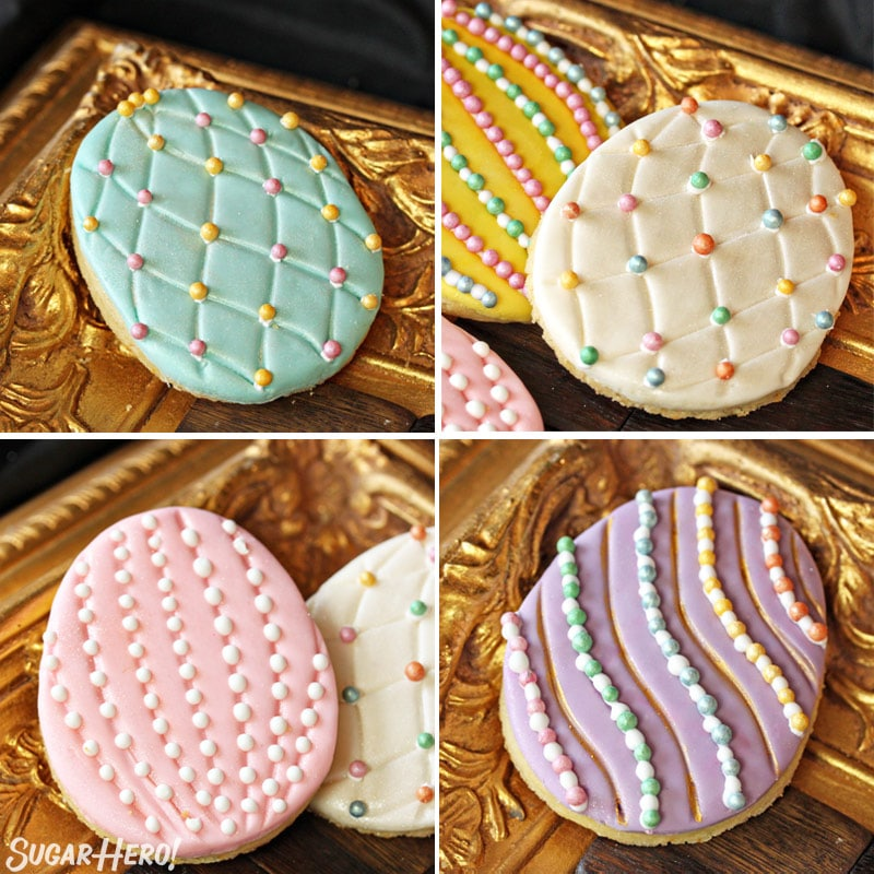 Four pictures of Easter egg sugar cookies with different decorations with fondant and sugar pearls