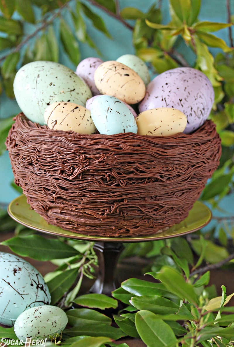 Easter Nest Cake - A picture of the cake displayed on a cake stand. | From SugarHero.com
