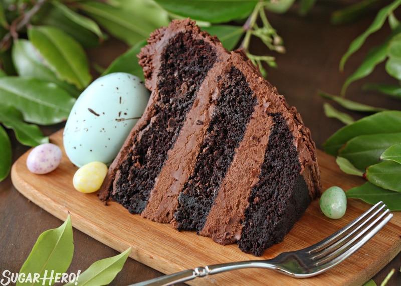 Easter Nest Cake - A slice of the nest cake. | From SugarHero.com