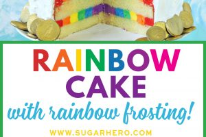 Rainbow Cake with Rainbow Buttercream | From SugarHero.com