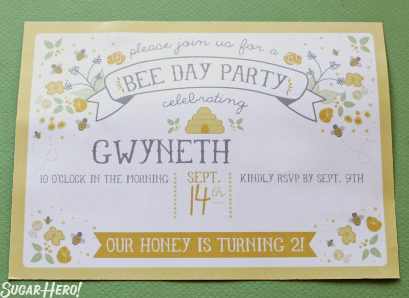 Bumblebee Cake -  A shot of the birthday invitation. | From SugarHero.com