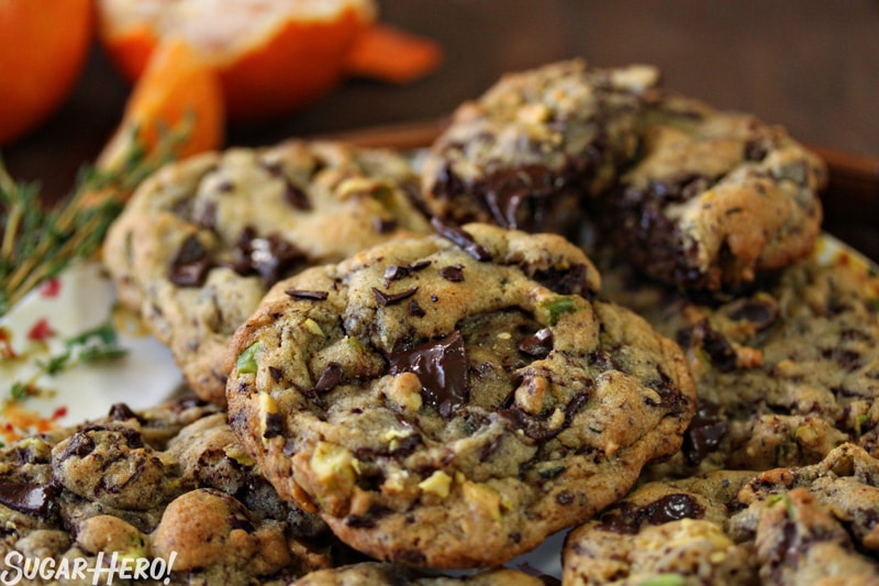 Clemen-Thyme Chocolate Chunk Cookies - A stack of cookies displayed on a plate.   From SugarHero.com