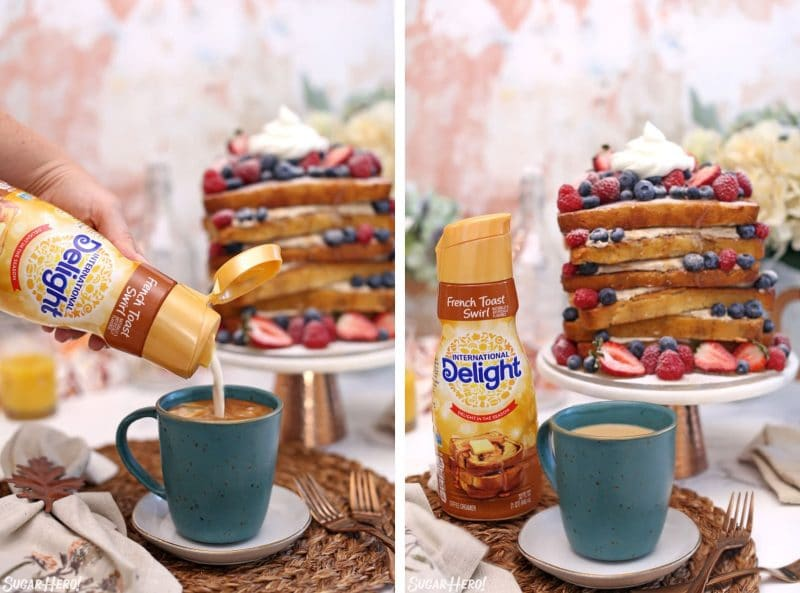 Collage showing pouring French toast swirl coffee creamer into a mug in front of a cake on a cake stand