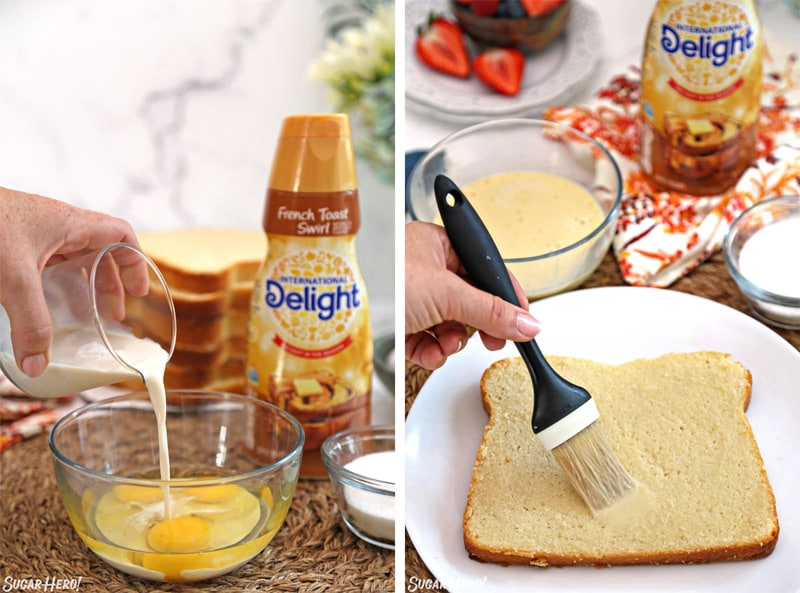 Collage showing making the French toast custard and brushing it on the cake layer