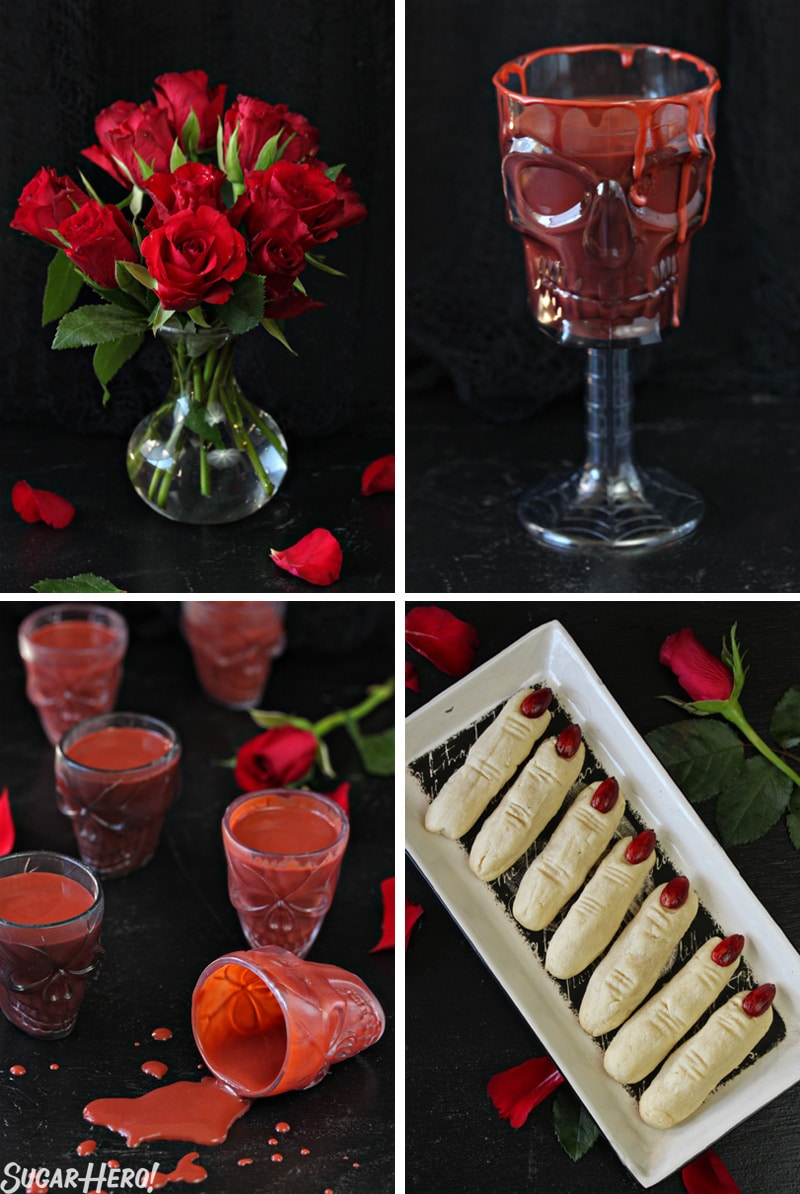 This Red Velvet Hot Chocolate - A collage of the hot chocolate, witch cookie fingers, and roses. | From SugarHero.com