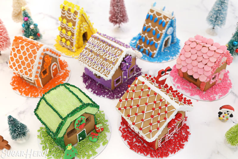 Overhead view of all of the mini gingerbread houses, showing their different roof designs