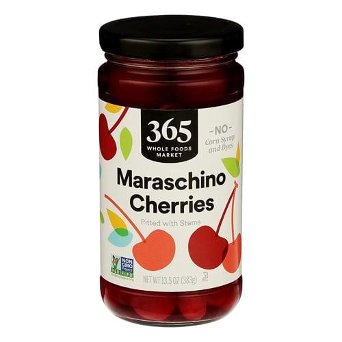 glass jar of maraschino cherries