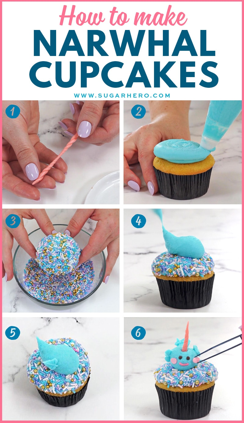 Photo collage showing the steps for making a narwhal cupcake