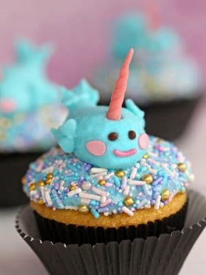 Sprinkle cupcakes with a buttercream narwhal on top