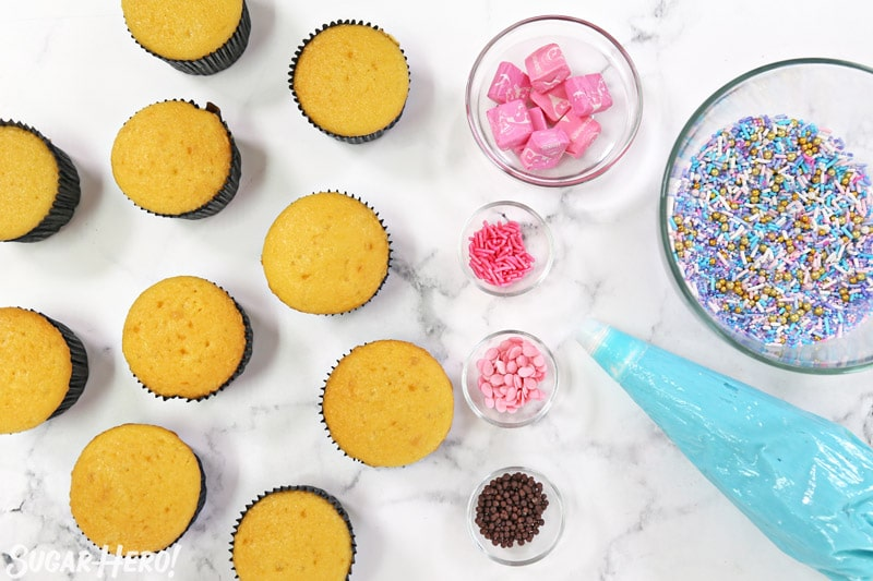 Ingredients for narwhal cupcakes