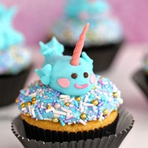 Narwhal Cupcakes with sprinkles