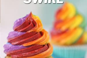 Colorful Rainbow Cupcake Frosting picture with text overlay for Pinterest