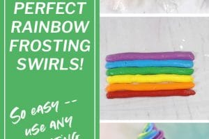 Three-picture collage of Colorful Rainbow Cupcake Frosting picture with text overlay for Pinterest