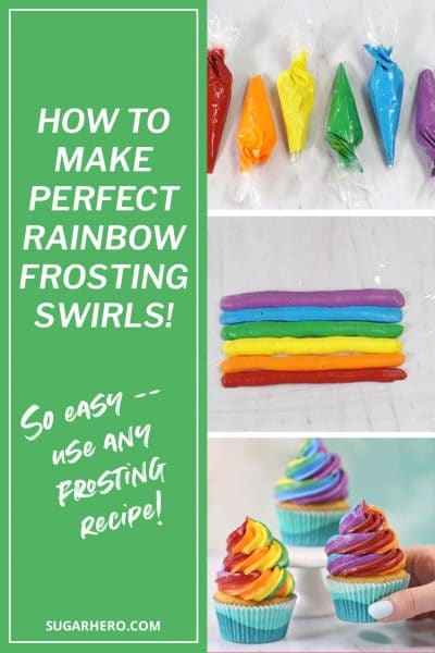 Pinterest collage showing 3 steps to making rainbow frosting