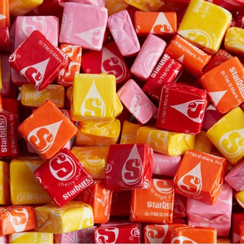 close-up of assorted Starburst candies in wrappers