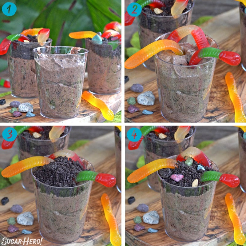 Collage with 4 step-by-step photos showing how to assemble dirt pudding cups