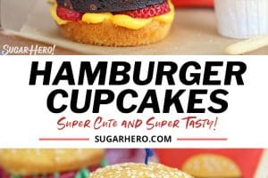 Hamburger cupcakes collage with text for Pinterest
