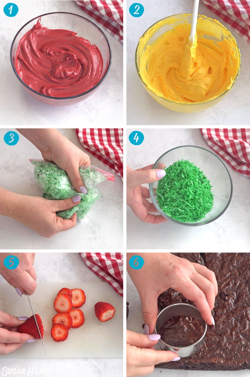 A 6-panel collage showing how to make the components of hamburger cupcakes