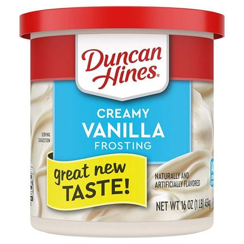 Tub of creamy vanilla frosting