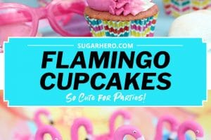 Flamingo Cupcake picture with text label for Pinterest