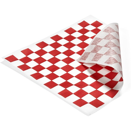 red and white checked sandwich liner