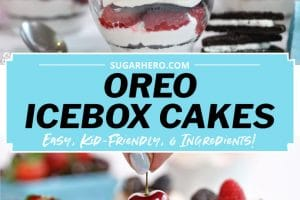 Mini Oreo Icebox Cake picture with explanatory text overlay for Pinterest