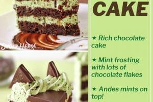 Picture collage of Mint Chocolate Chip Layer Cake with text overlay for Pinterest