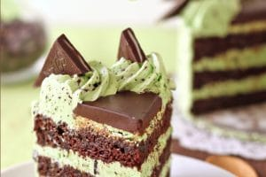 Mint Chocolate Chip Layer Cake picture with text overlay for Pinterest