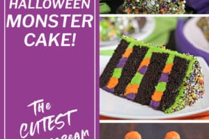 Monster Cake collage for Pinterest with 3 photos