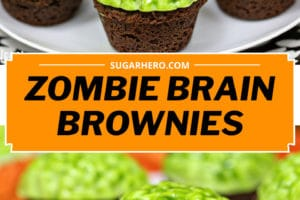 Two photo collage of Zombie Brain Brownie Bites with text overlay for Pinterest