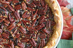 Overhead shot of Deep Dish Pecan Pie with overlay text for Pinterest