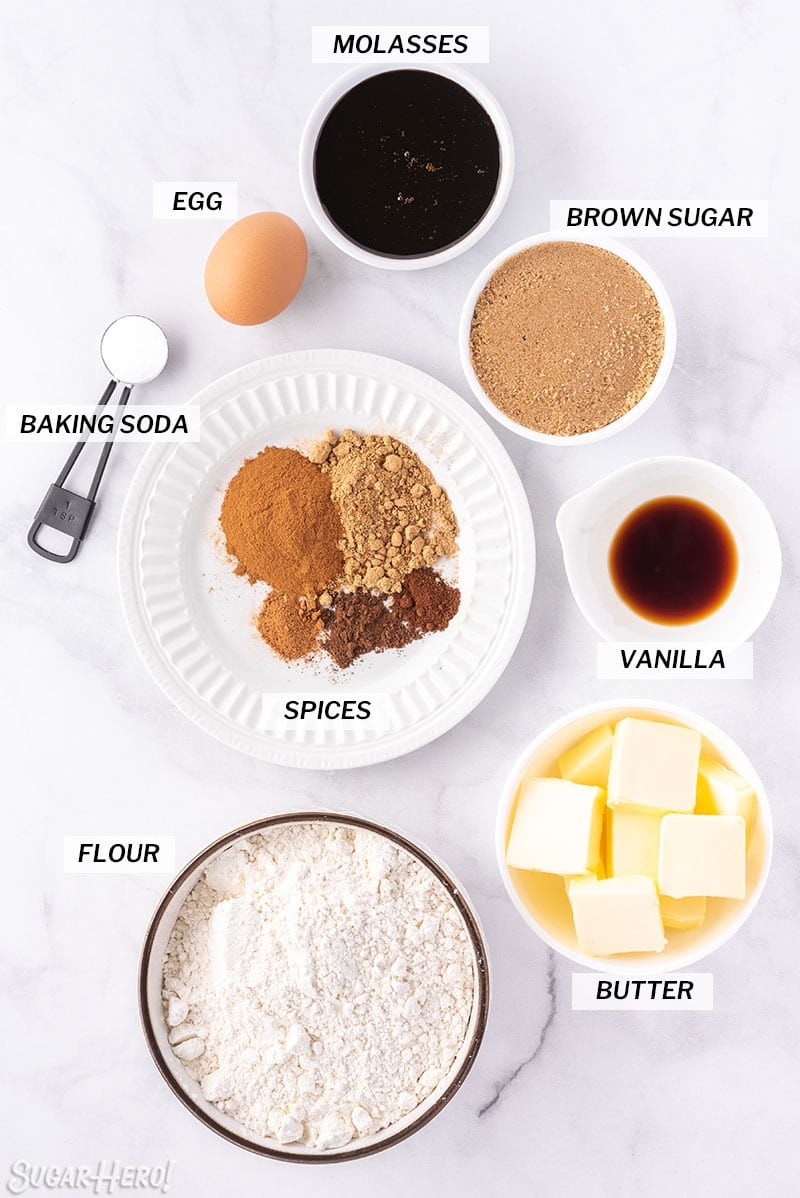 Overhead shot of ingredients used to make Gingerbread Cookie Mug Toppers, with text labels