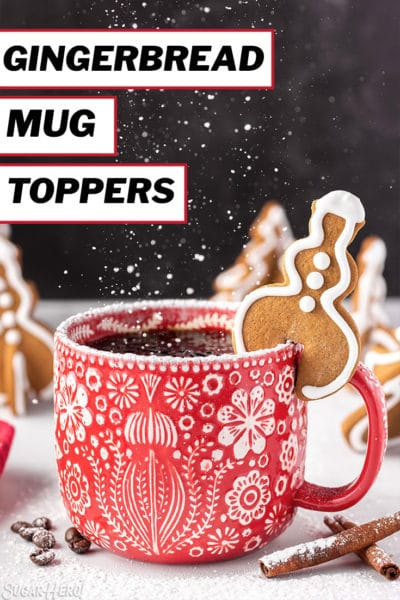 Snowman-shaped Gingerbread Cookie Mug Topper on a red mug with overlay text for Pinterest