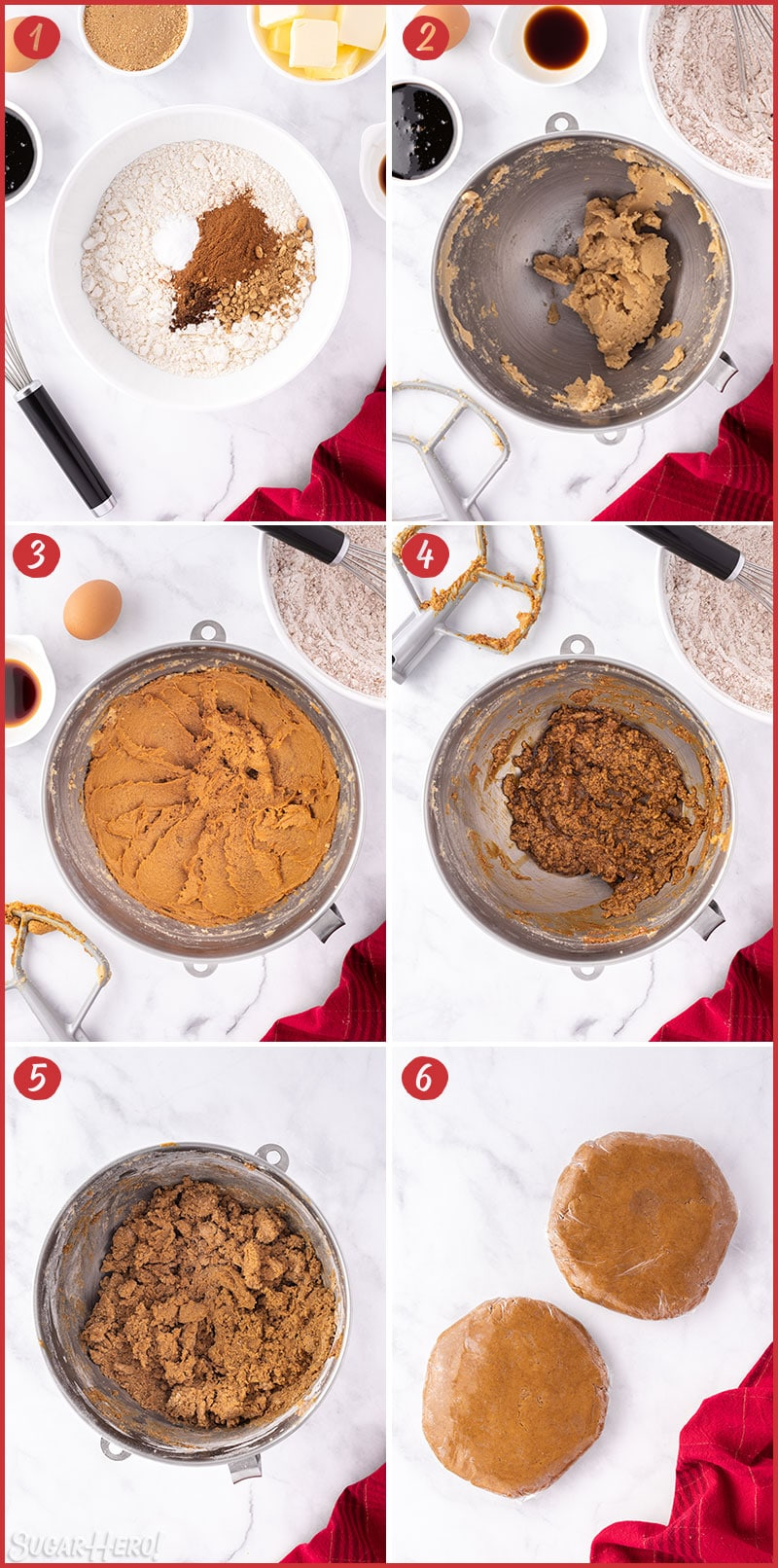 Six photo collage of Gingerbread Cookie Mug Toppers showing how to make the cookie dough
