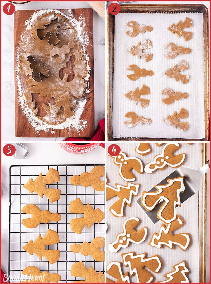 Four photo collage of Gingerbread Cookie Mug Toppers showing how to cut and bake the cookies
