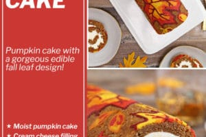 Two photo collage of Pumpkin Roll with text overlay for Pinterest