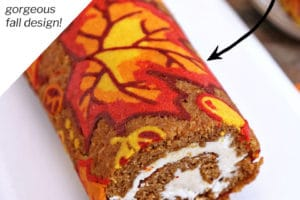 Pumpkin Roll picture with text overlay for Pinterest