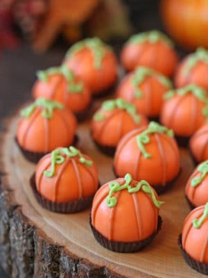 Pumpkin Bread Truffles on a wooden serving plate