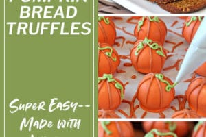 Collage of three Pumpkin Bread Truffles pictures with overlay text for Pinterest