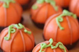 Pumpkin Bread Truffles picture with overlay text for Pinterest