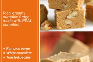 Two photo collage of Pumpkin Fudge with overlay text for Pinterest