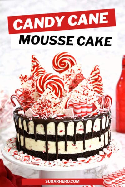 Picture of Candy Cane Mousse Cake with chocolate cake layers and overlay text for Pinterest