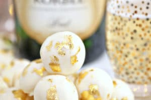 Champagne White Chocolate Truffles picture with overlay text for Pinterest
